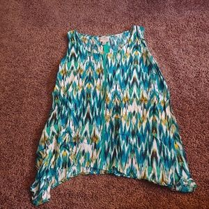 St Johns bay green/blue flowy tank blouse
